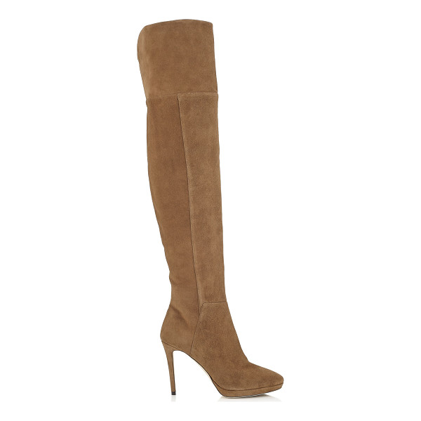 JIMMY CHOO HAYLEY 100 Khaki Brown Suede Over-The-Knee Boots - A statement platform over-the-knee boot is a wardrobe must...