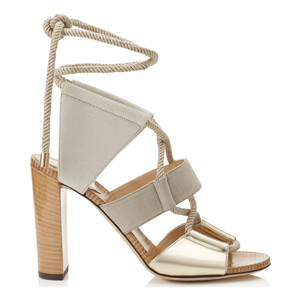 JIMMY CHOO Henni 100 mirror leather, suede and canvas sandals - A five piece upper attached and looped around rope that we...
