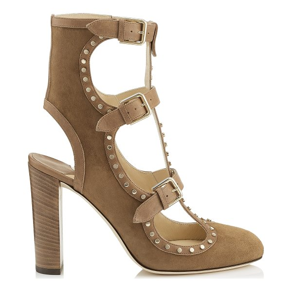 JIMMY CHOO HENSLEY 100 Hazel Suede and Vachetta leather Booties with Studs - The Hensley booties in hazel suede and vachetta leather,...