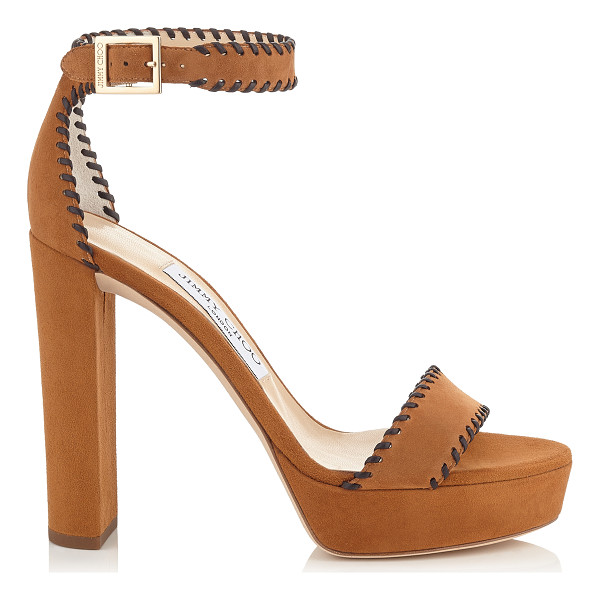 JIMMY CHOO HOLLY 120 Canyon Suede and Brown Nappa Platform Sandals - A bohemian inspired platform sandal. The intricate...