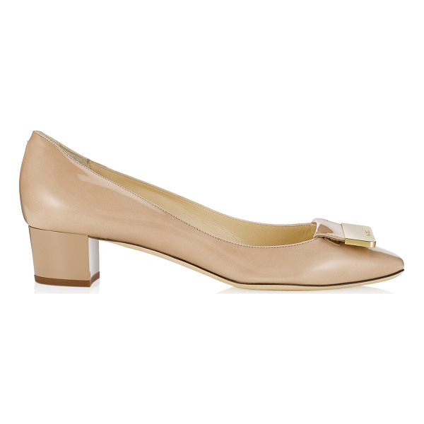 JIMMY CHOO Iris nude patent square toe pumps - Step out in lady like style with these demure timeless...