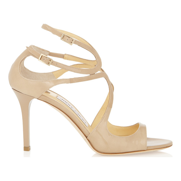 JIMMY CHOO IVETTE Nude Patent Leather Strappy Sandals - These mid heel sandals offer perfect round the clock style....