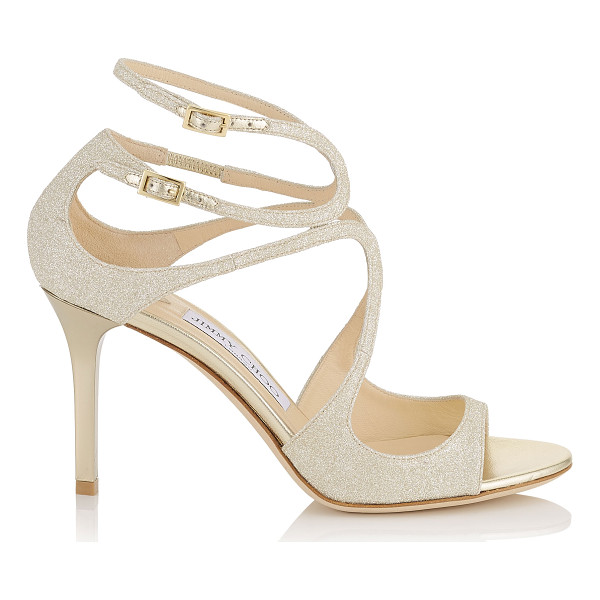 JIMMY CHOO IVETTE Platinum Ice Dusty Glitter Sandals - From red carpets to dance floors, these strappy sandals are...