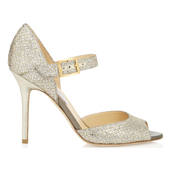 JIMMY CHOO Lace champagne glitter fabric peep toe pumps - Add some sparkle to favourite cocktail dresses with these...
