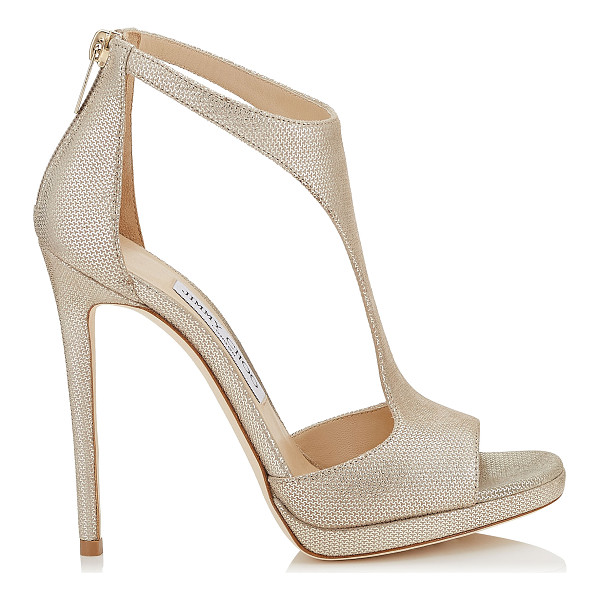 JIMMY CHOO LANA 120 Champagne Metallic Mini Print Leather T-Bar Sandals - This simple and sexy T-Bar sandal provides a hint of...