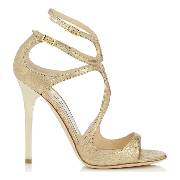 JIMMY CHOO Lance gold glitter leather strappy sandals - From red carpets to dance floors, these strappy sandals are...