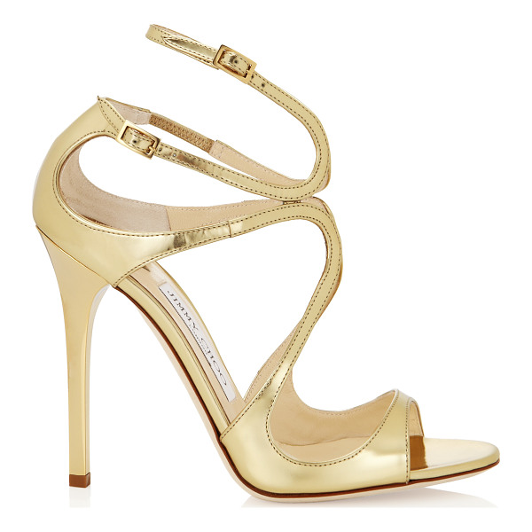 JIMMY CHOO LANCE Gold Mirror Leather Sandals - From red carpets to dance floors, these strappy sandals are...