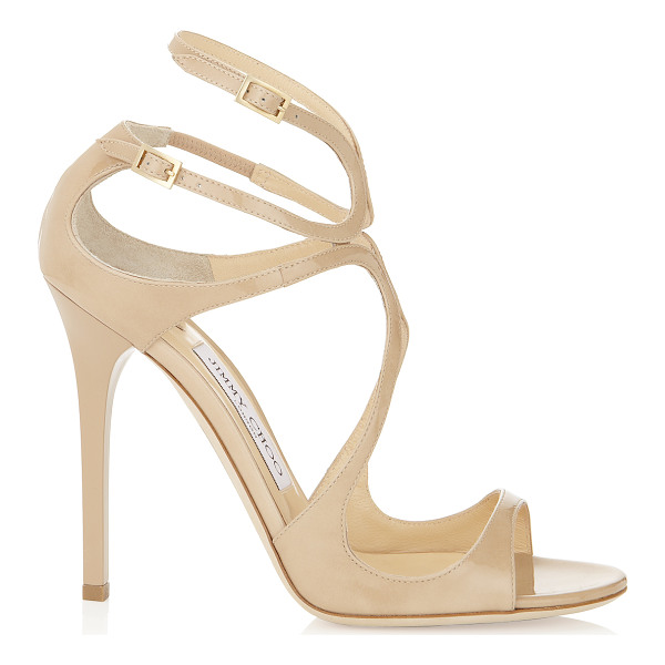 JIMMY CHOO LANCE Nude Patent Leather Sandals - Enjoy the leg lengthening effect of these nude patent...