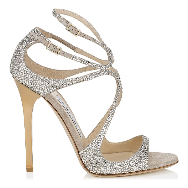 JIMMY CHOO LANCE Nude Suede Sandals with Crystals - From red carpets to dance floors, these strappy sandals are
