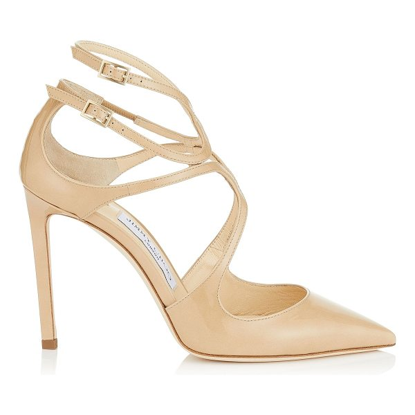JIMMY CHOO LANCER 100 Nude Patent Leather Pointy Toe Pumps - A sexy and sophisticated pointy toe pump, the Lancer in...