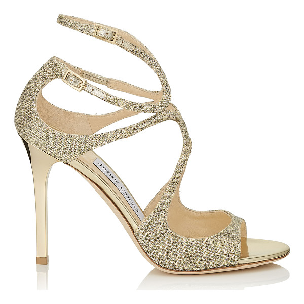 JIMMY CHOO LANG Gold Lamé Glitter Fabric Sandals - From red carpets to dance floors these strappy sandals are...