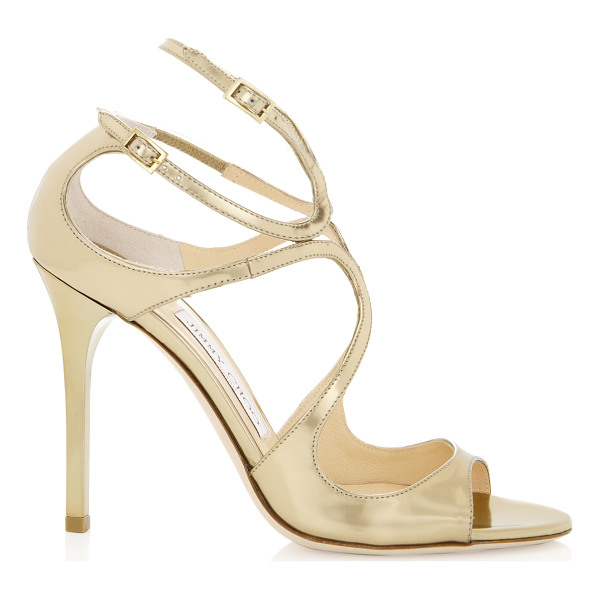 JIMMY CHOO LANG Gold Mirror Leather Sandals - These perfect evening sandals will carry you through the...