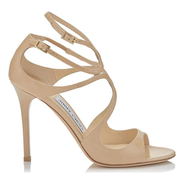 JIMMY CHOO LANG Nude Patent Sandals - The statuesque Lang sandal is an elegant tangle of ankle...