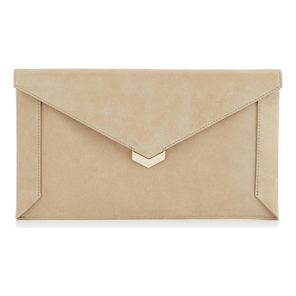 JIMMY CHOO LAUREN Chai Suede Pouch - The Lauren pouch in chai suede is a chic and modern...