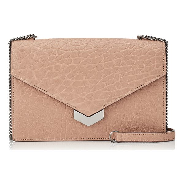 JIMMY CHOO LEILA Ballet Pink Grainy Leather Cross Body Bag - Crafted in attractive grained leather tinted ballet pink,...