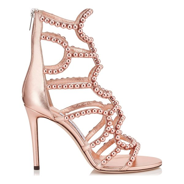JIMMY CHOO LEJA 100 Tea Rose and Copper Metallic Nappa with Beads Sandals - The Leja sandal in tea rose and copper metallic nappa...