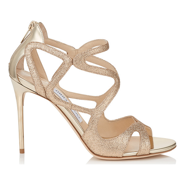 JIMMY CHOO Leslie 100 sand fine glitter fabric and champagne mirror leather strappy sandals - A strappy sandal that is minimal and delicate whilst still...