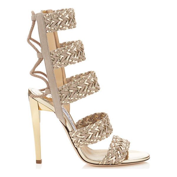 JIMMY CHOO Lima 110 marble suede and light champagne mirror leather caged sandals - A tribal influenced style in a mix of textures and...