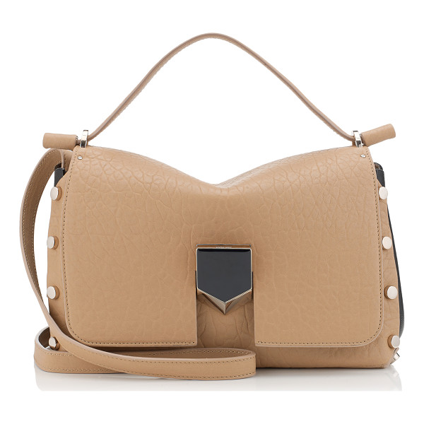 JIMMY CHOO Lockett/m nude grainy leather and black nappa handbag - Made to be worn on the shoulder, using the longer strap, or...