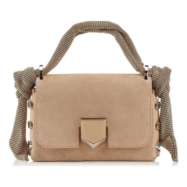 JIMMY CHOO LOCKETT MINI Nude Suede Bag with Mesh Strap - A new addition to this season, the Lockett Mini in nude...