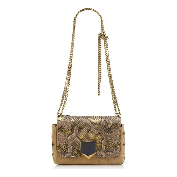 JIMMY CHOO LOCKETT PETITE Hazel Suede Shoulder Bag with Metalised Python - A sexy and feminine shoulder bag, the Lockett Petite, in...