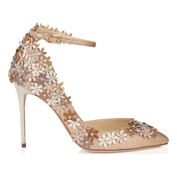 JIMMY CHOO Lorelai 100 nude fine glitter fabric pumps with champagne flower mix embellishment - The silhouette of this beautiful shoe provides an elegant...
