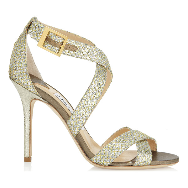 JIMMY CHOO LOTTIE Champagne Glitter Fabric Sandals - Sparkly sandals are a Jimmy Choo signature and this pair...