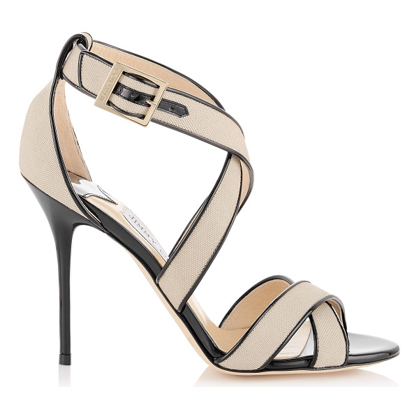 JIMMY CHOO Lottie natural canvas and black patent sandals - A simplified cross-over strappy sandal that flatters the...