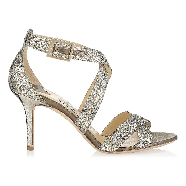 JIMMY CHOO LOUISE Champagne Glitter Fabric Sandals - Sparkly sandals are a Jimmy Choo signature and this pair...