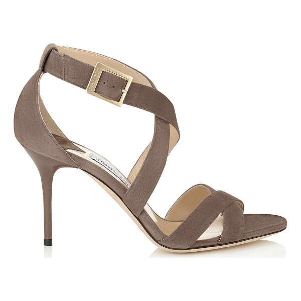 JIMMY CHOO Louise mink suede sandals - A simplified cross-over strappy sandal that flatters the...