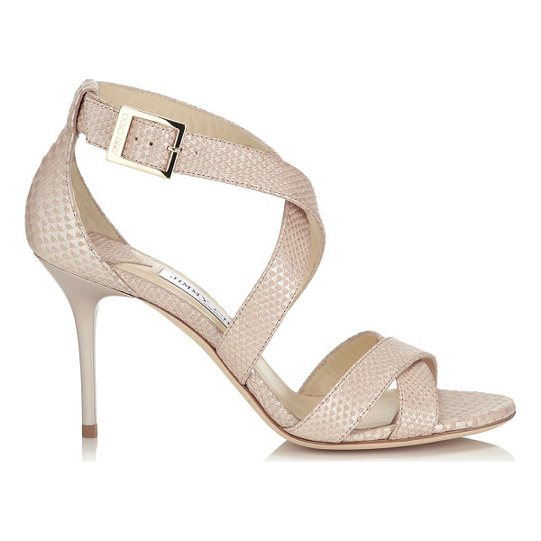 JIMMY CHOO Louise nude pearlised printed leather sandals - A simplified cross-over strappy sandal that flatters the...