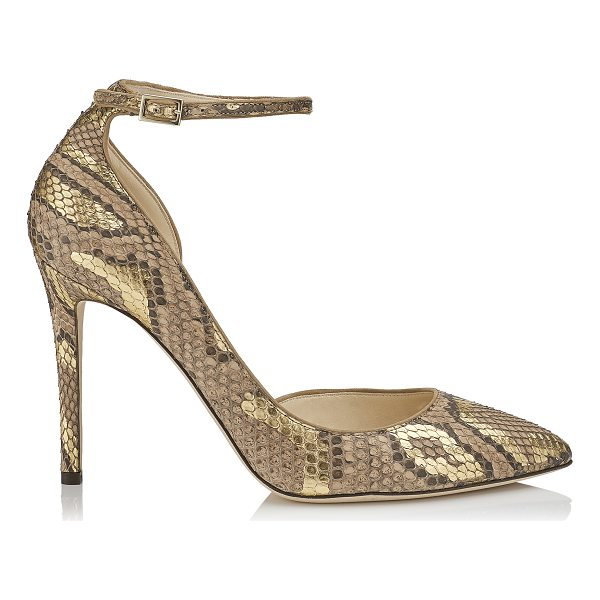 JIMMY CHOO LUCY 100 Hazel and Gold Pointy Toe Metalised Python Pumps - From its supple hazel and gold metalised python exterior to...