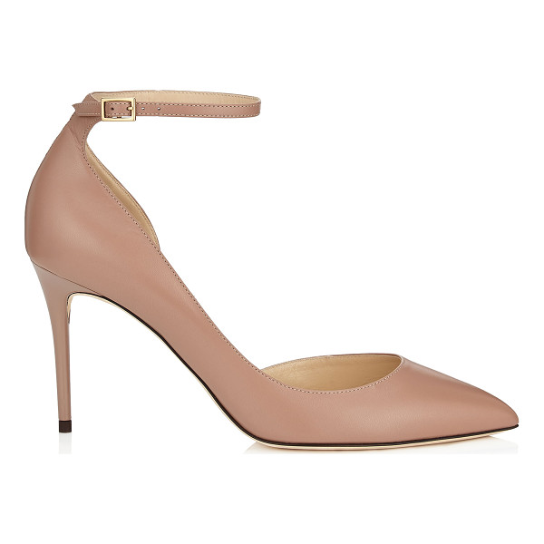 JIMMY CHOO LUCY 85 Ballet Pink Kid Leather Pointy Toe Pumps - A modern take on a Dorsay pointy toe pump, Lucy accentuates...