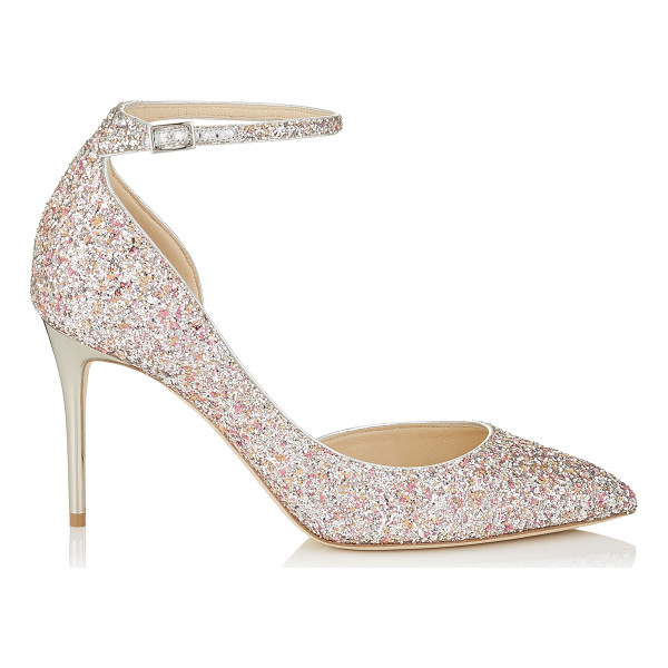 JIMMY CHOO LUCY 85 Camellia Mix Speckled Glitter Pointy Toe Pumps - A modern take on a Dorsay pointy toe pump, Lucy accentuates...