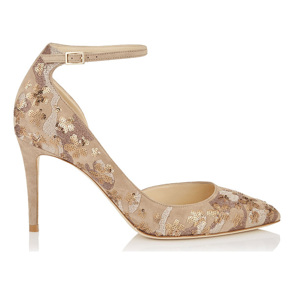 JIMMY CHOO LUCY 85 Nude Floral Embroidery on Suede Pointy Toe Pumps - A modern take on a Dorsay pointy toe pump, Lucy accentuates...