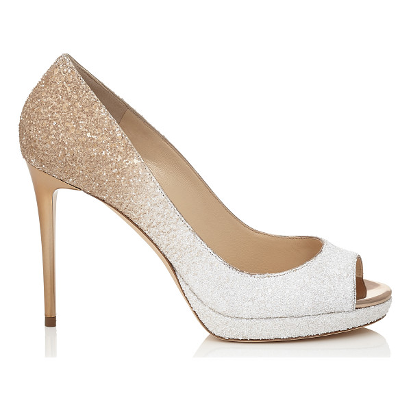 JIMMY CHOO LUNA 100 Optic White and Light Honey Coarse Glitter Degrade Peep Toe Platform Pumps - A versatile and contemporary peep toe platform pump....