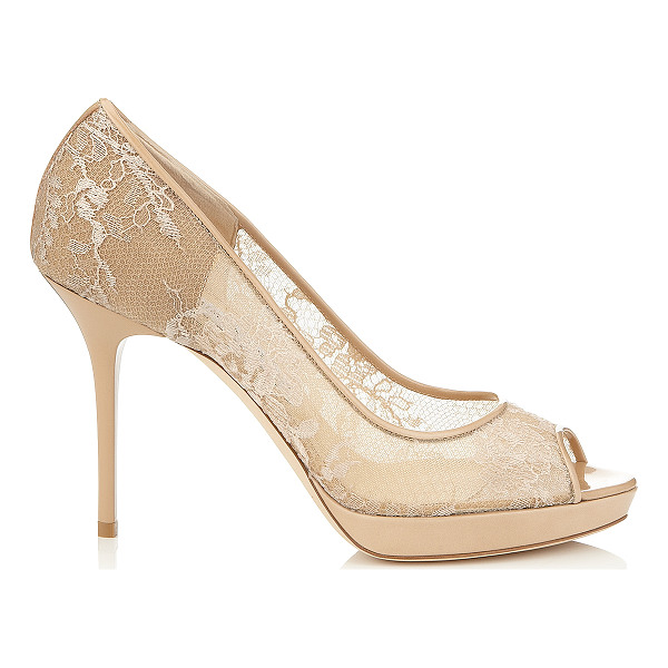 JIMMY CHOO Luna nude lace and patent peep toe pumps - Delicate floral lace trimmed with nude patent, complements...