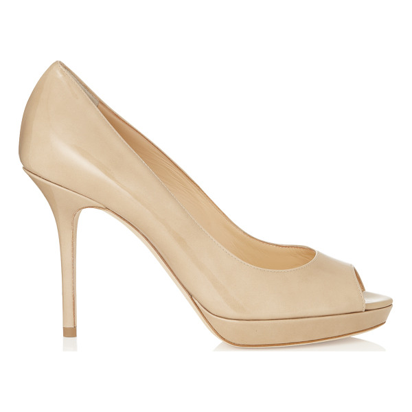 JIMMY CHOO LUNA Nude Patent Leather Platform Peep Toe Pumps - These sleek patent pumps are a capsule wardrobe essential....