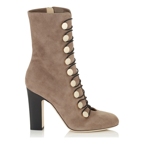 JIMMY CHOO MALTA 100 Light Mocha Suede Ankle Boots - Malta is a retro inspired ankle boot. The metal press studs...