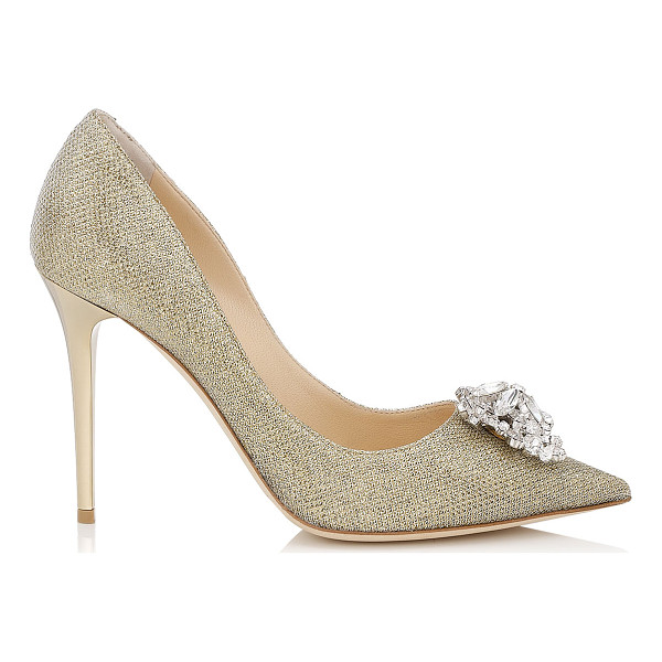 JIMMY CHOO MANDA Gold Lamé Glitter Pumps with Crystal Detail - An embellished pointy toe pump. The multi-faceted piece is...