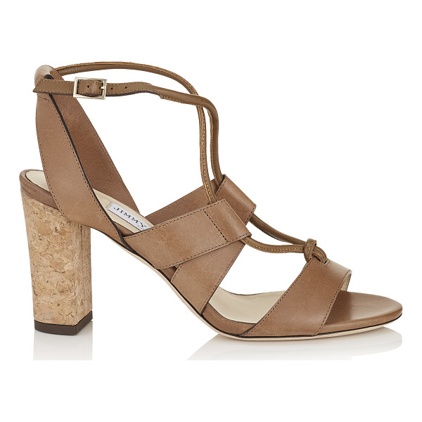 JIMMY CHOO MARGO 80 Tan Vacchetta Leather Sandals - These strappy sandals are effortlessly chic with their...