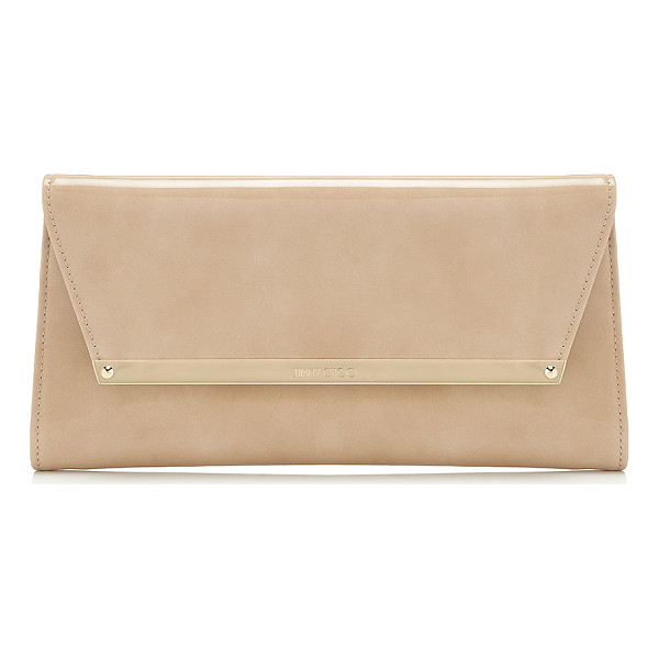 JIMMY CHOO MARGOT Nude Patent and Suede Clutch Bag - A versatile, modern style with a sleek silhouette, Margot...
