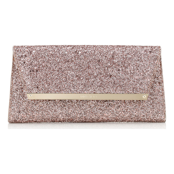 JIMMY CHOO MARGOT Tea Rose Metallic Coarse Glitter Fabric Accessory Clutch Bag - A versatile, modern style with a sleek silhouette, Margot...