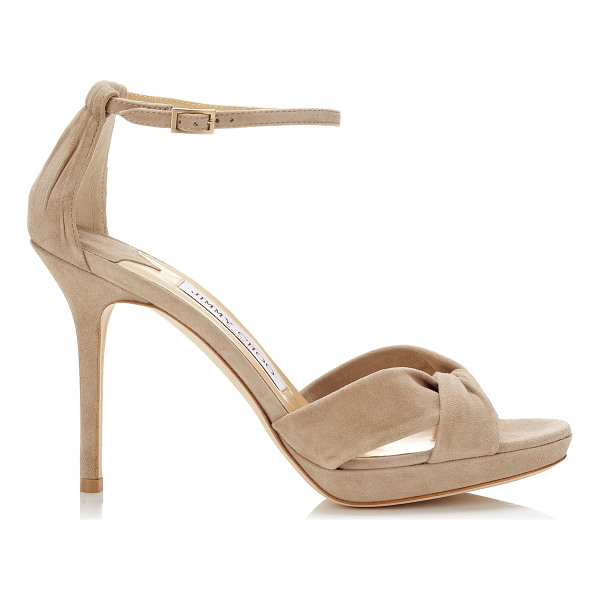 JIMMY CHOO Marion nude suede platform sandals - An iconic Jimmy Choo sandal, Marion, with its supportive...