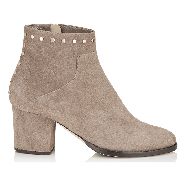 JIMMY CHOO MELVIN 65 Light Mocha Suede Ankle Boots with Studs Trim - An ankle bootie with a classic chunkier heel and rounded...
