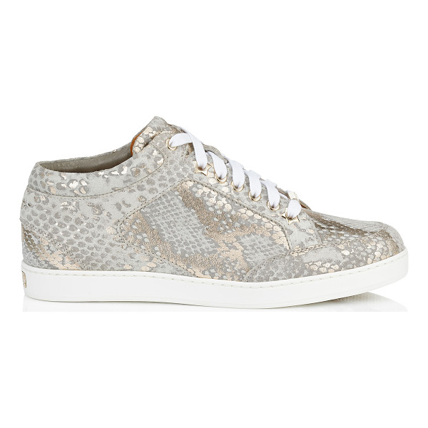 JIMMY CHOO MIAMI Light Khaki Metallic Printed Suede Low Top Trainers - A popular low top lace up trainer, perfect for the weekend.