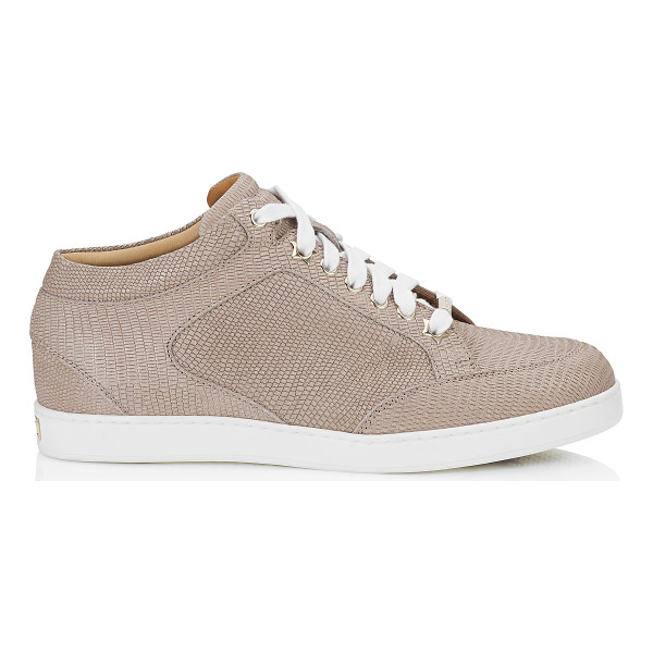 JIMMY CHOO MIAMI Nude Glitter Printed Leather Low Top Trainers - A popular low top lace up trainer, perfect for the weekend.