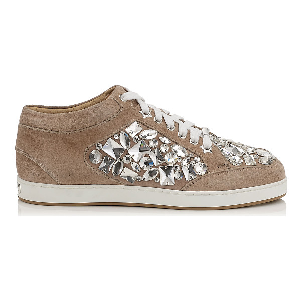 JIMMY CHOO MIAMI Nude Suede with Crystals Low Top Trainers - A popular low top lace up trainer, perfect for the weekend....