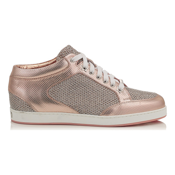 JIMMY CHOO MIAMI Tea Rose Metallic Printed Leather and Glitter Low Top Trainers - A popular low top lace up trainer, perfect for the weekend....