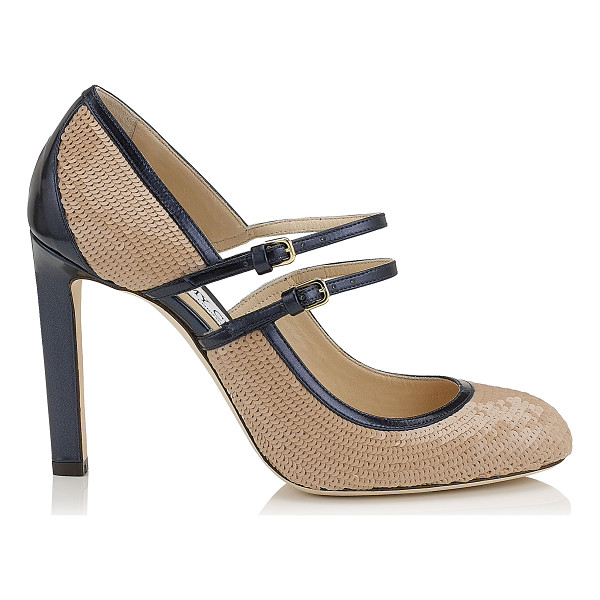 JIMMY CHOO MICHA 100 Nude Sequins on Satin Round Toe Pumps - Micha is an evolution of the popular Mary Jane style. They...